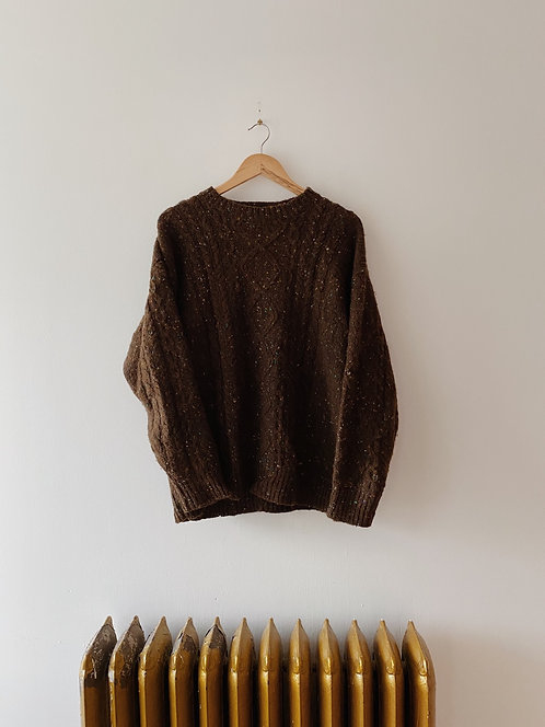 Brown Speckled Cable Knit Sweater | L