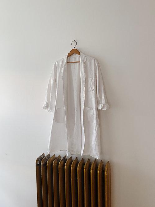 White Cotton Chore Coat | M