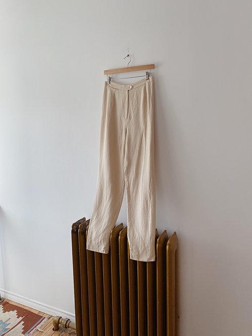 Buttercream Herringbone Trousers | 28