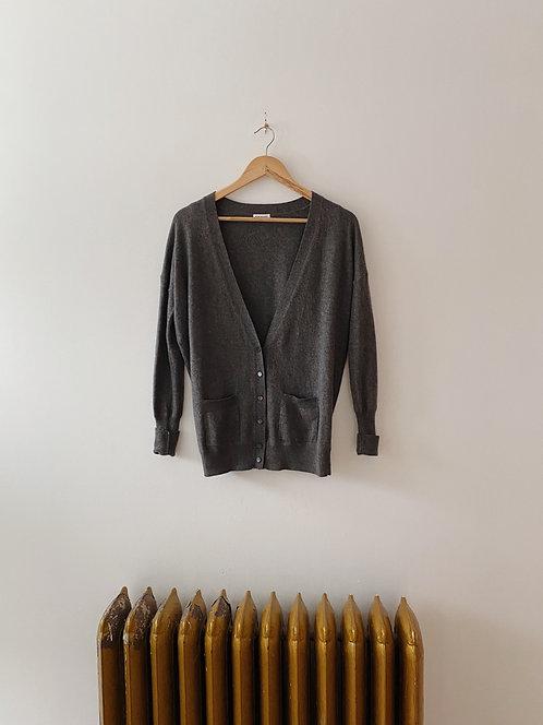Grey Cashmere Cardigan Sweater | M