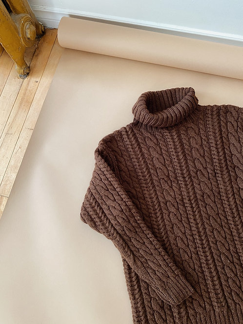 Cable Knit Turtleneck Sweater | M