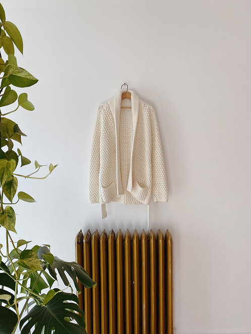 Cream Knit Cardigan | L