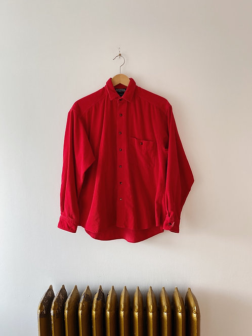 Red Corduroy Button Up | L/XL