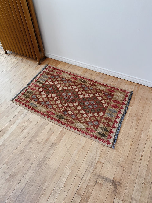Burgundy & Tan Wool Kilim Rug