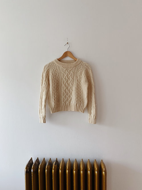 Cream Wool Cable Knit Sweater   XS