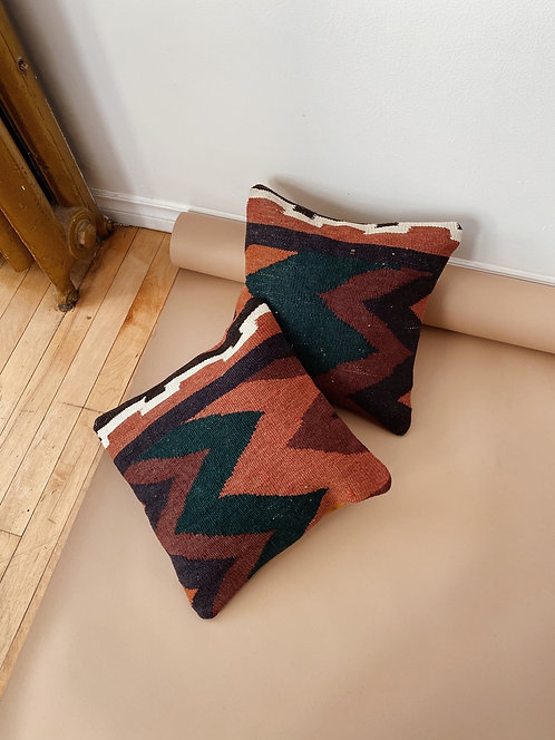 Forest Green & Rose Kilim Pillow | 14 x 14