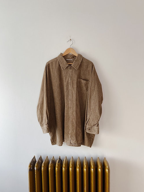 Speckled Tan Corduroy Zip Up Shirt | 3XL