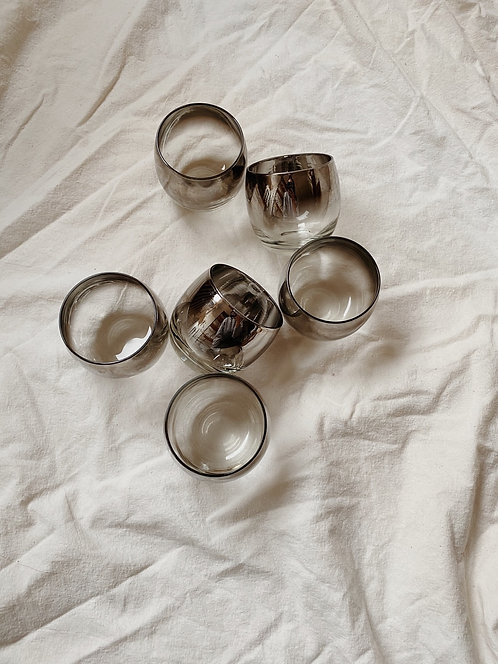 Mid Century Silver Ombre Glass Set