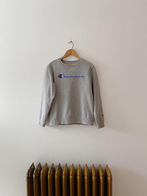 Heather Grey Embroidered Champion Crewneck | S