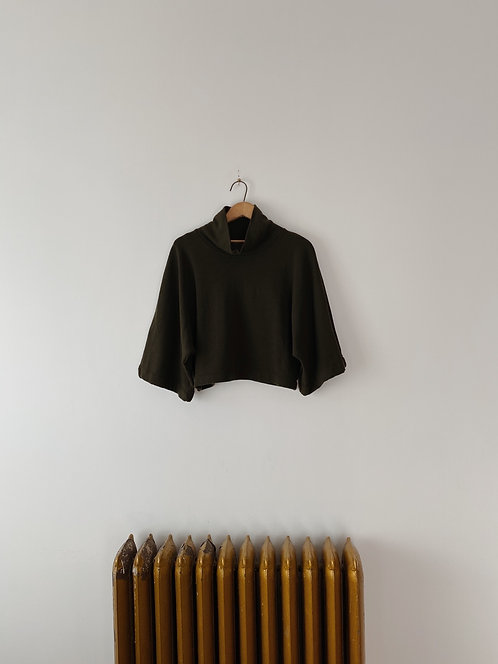 Moss Cub Cropped Turtleneck Sweater