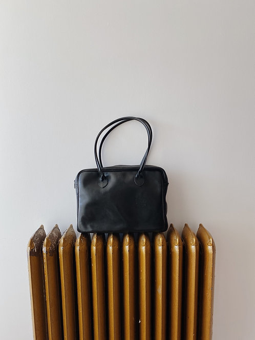 Black Leather Roots Bag