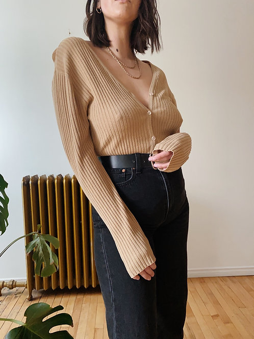 Sand Ribbed Cardigan | L