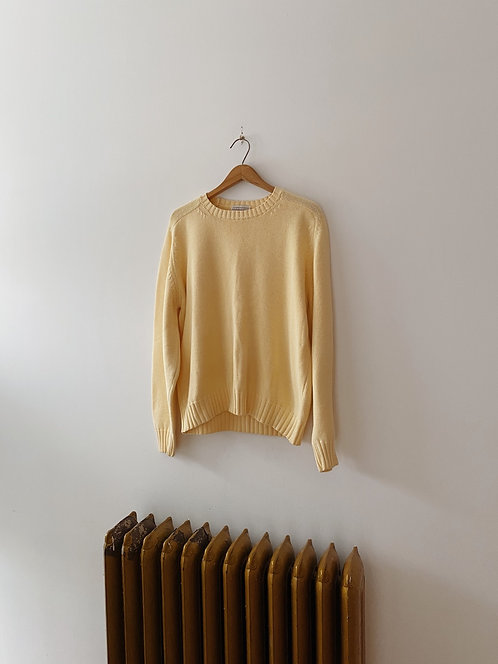 Pale Yellow Cotton Sweater | L