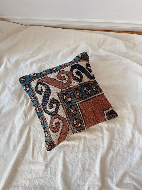 Dusty Rose + Blue Wool Kilim Rug Pillow