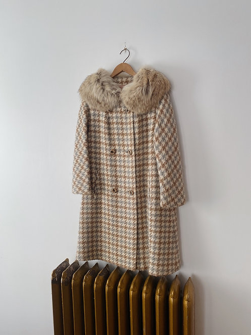 Neutral Houndstooth Wool Coat | M