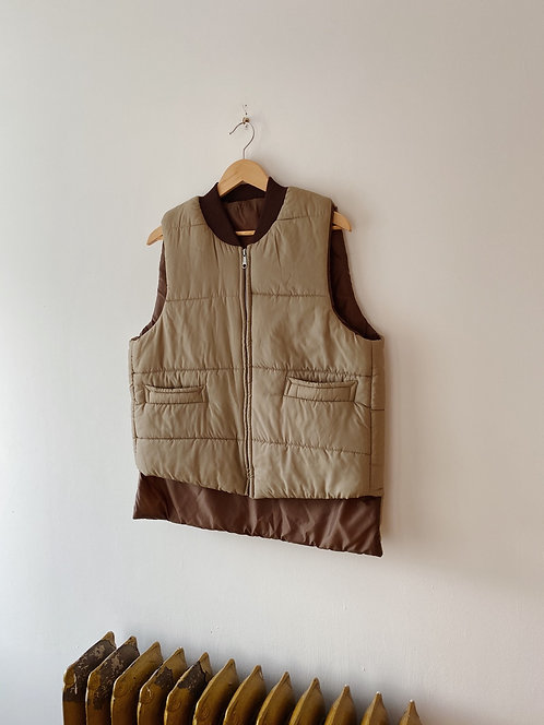 Tan & Brown Quilted Vest | L