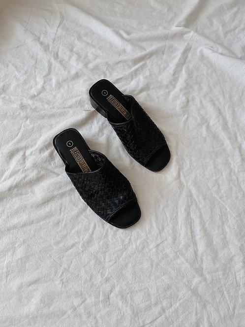 Black Leather Woven Slide Sandals | 8