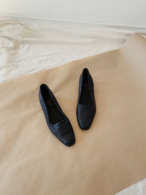 Blue Black Woven Leather Flats | 9.5