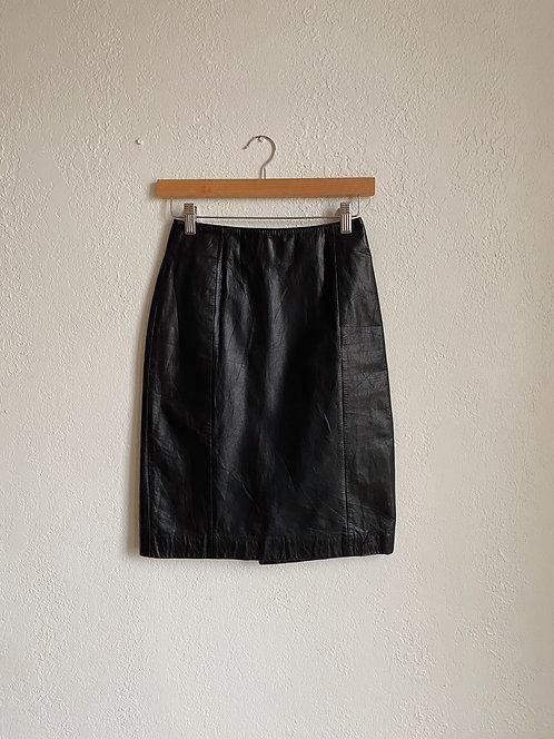 Onyx Leather Skirt | 24