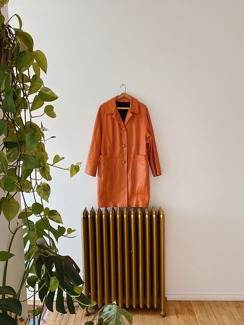 Orange Leather Trenchcoat | M