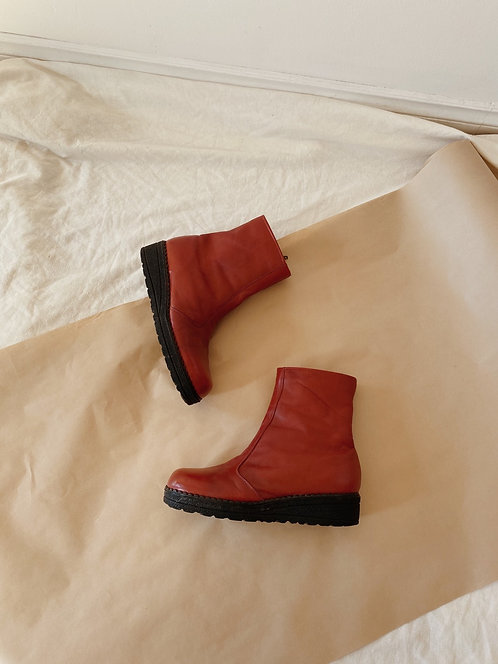 Dark Red Leather Boots | 9.5