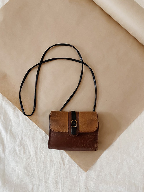 Small Black & Brown Leather Purse