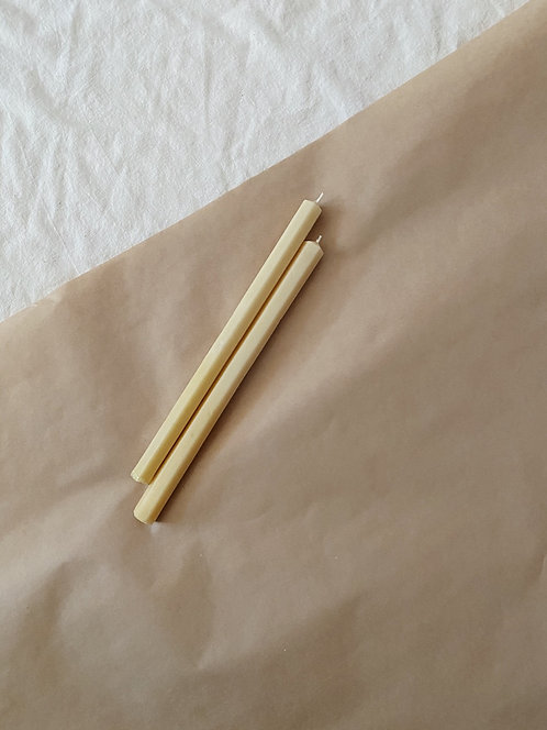 Beeswax Hexie Taper Candle