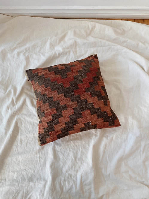 Terracotta and Grey Wool Kilim Rug Pillow