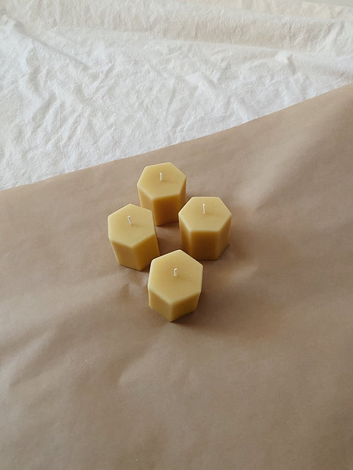Beeswax Hexie Votive Candle
