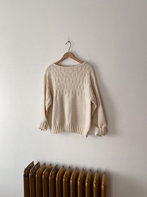 Cream Knit Sweater | M/L