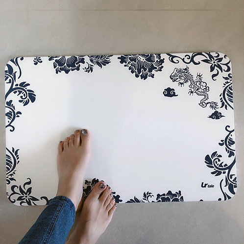 Blue and White  Porcelain Diatomite Bath Mat