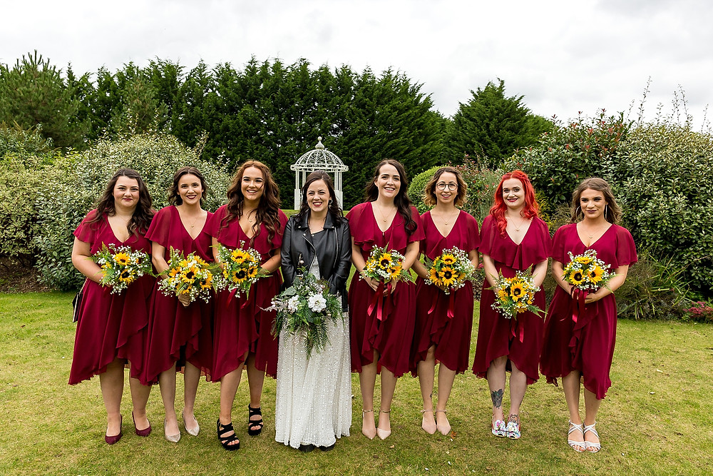 Bride and her bridesmaids at Draycote Hotel wedding