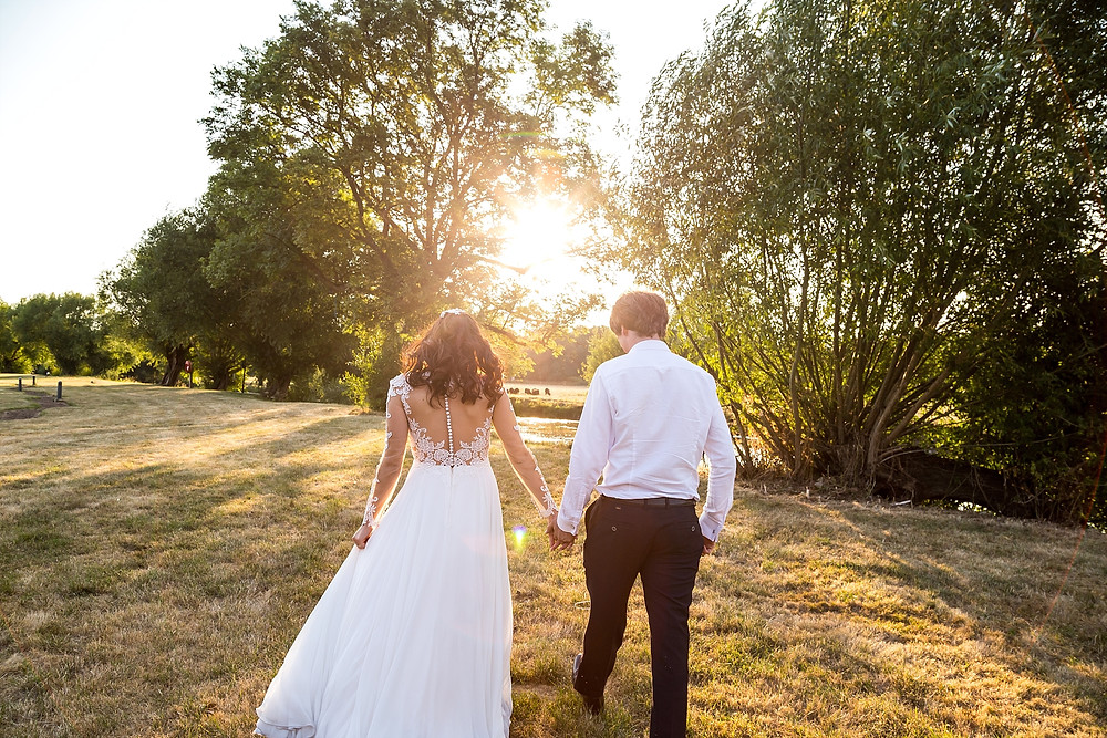 Golden hour wedding photography at Riverside Stratford-upon-Avon