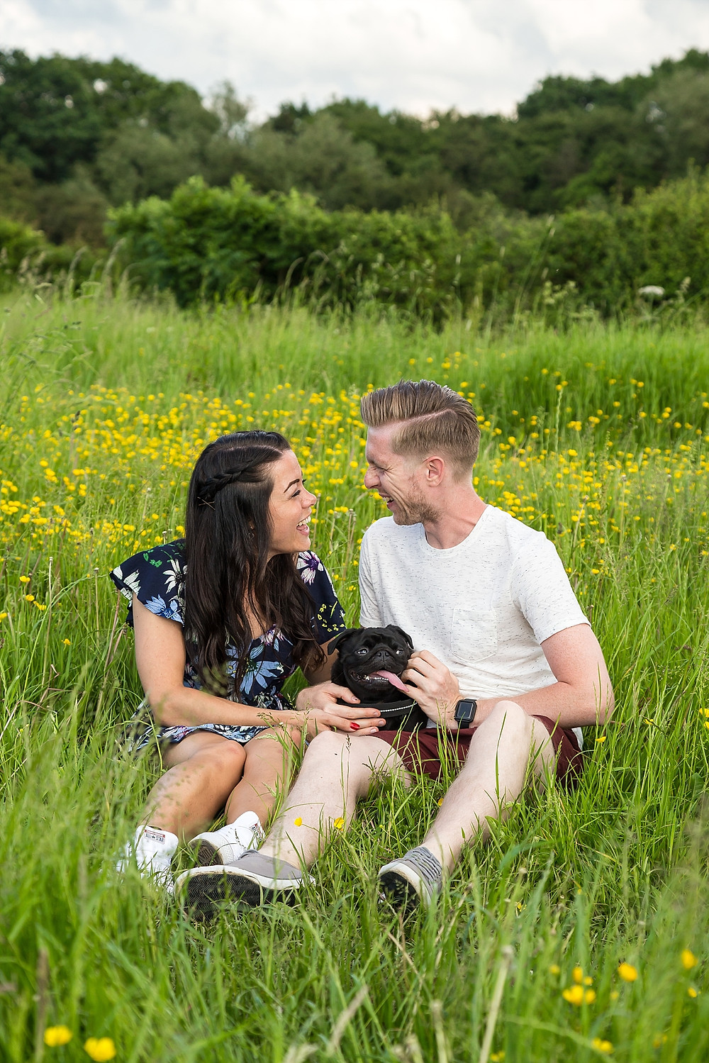 Engagement shoot in Warwickshire with dog