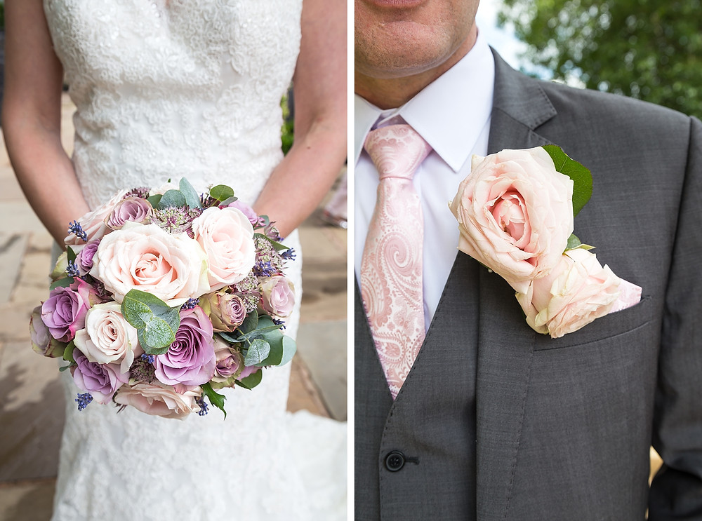 Pastel pink flowers at Warwick House wedding