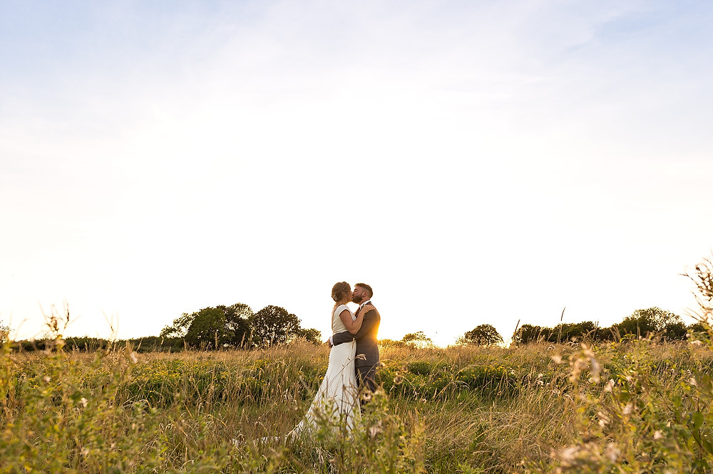Golden hour wedding photography at Wethele Manor