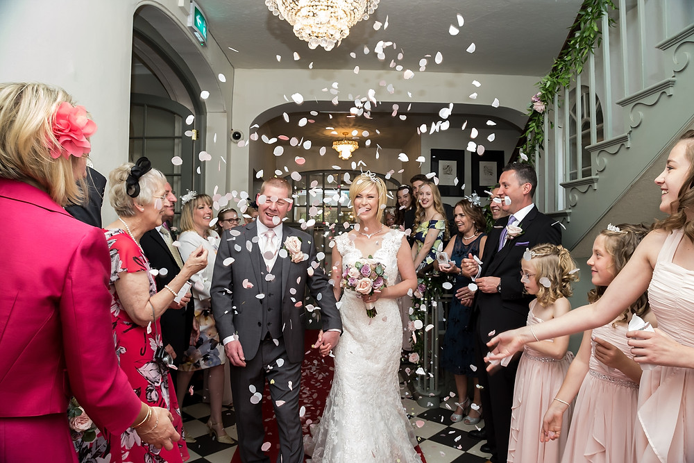 Wedding confetti at Warwick House