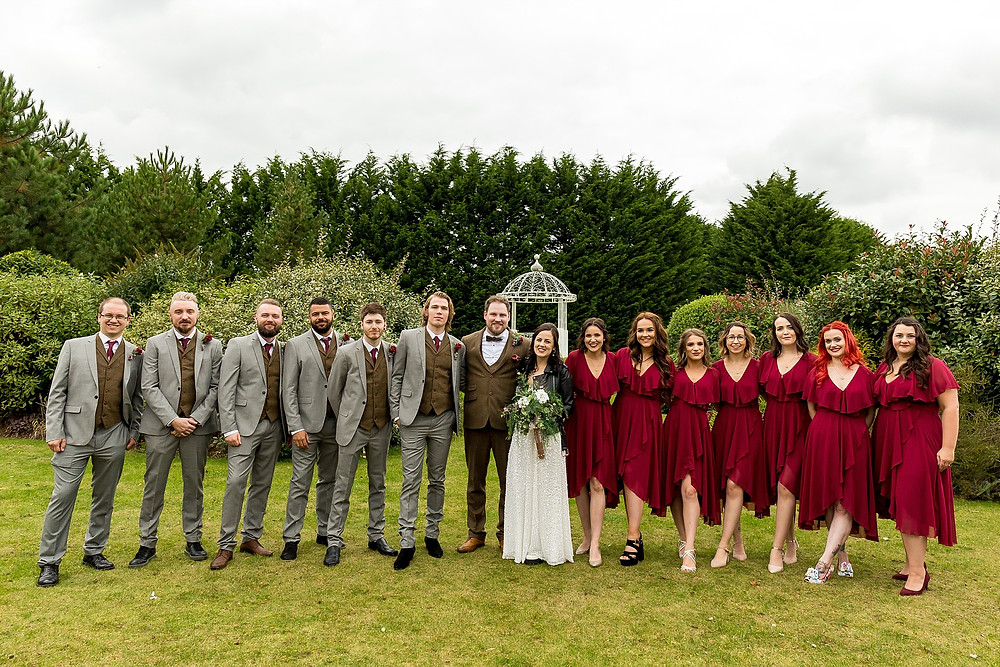 Bridal party at Draycote Hotel wedding