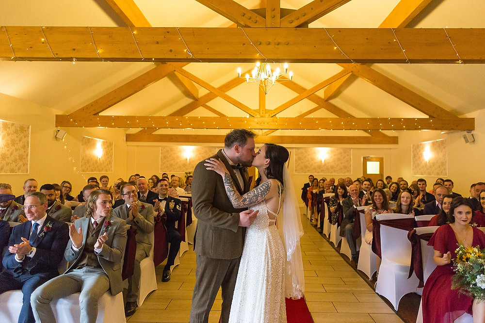 First kiss at Draycote Hotel Wedding
