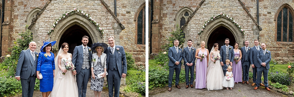 Group photos at Warwickshire wedding