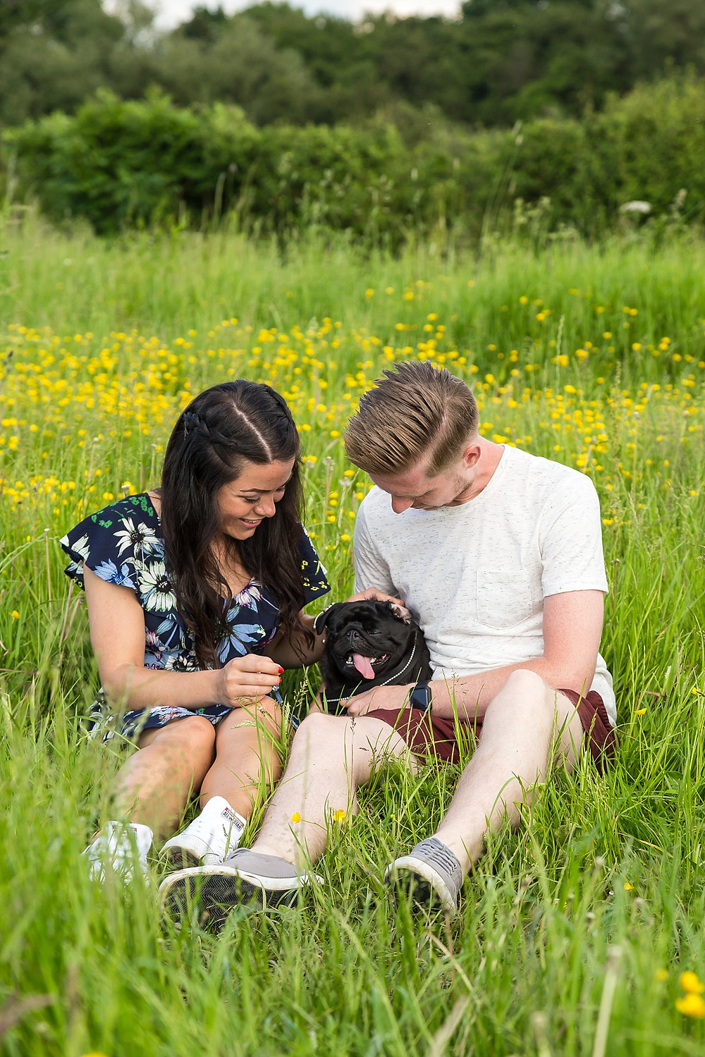 Engagement shoot in Warwickshire countryside with dog