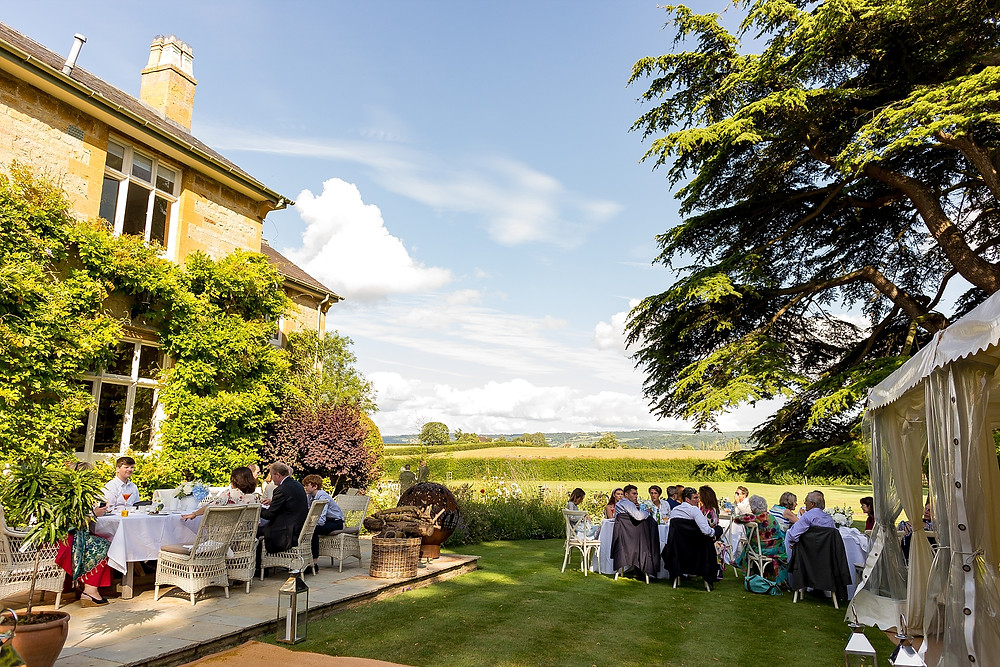 Outdoor wedding at The Old Rectory, Cotswolds