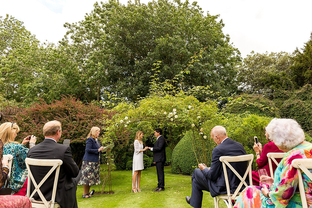 Outdoor wedding blessing ceremony in the Cotswolds