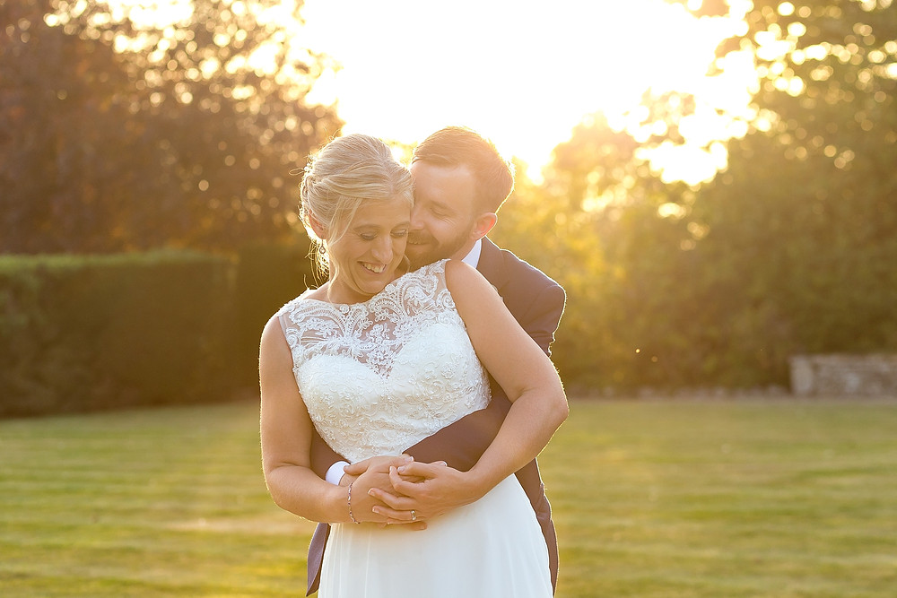 Golden hour wedding photography at Mallory Court Hotel