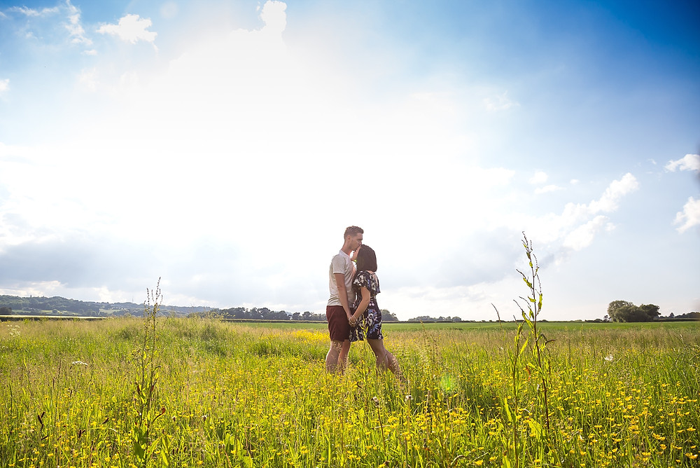 Couple in the Warwickshire countryside on an engagement shoot