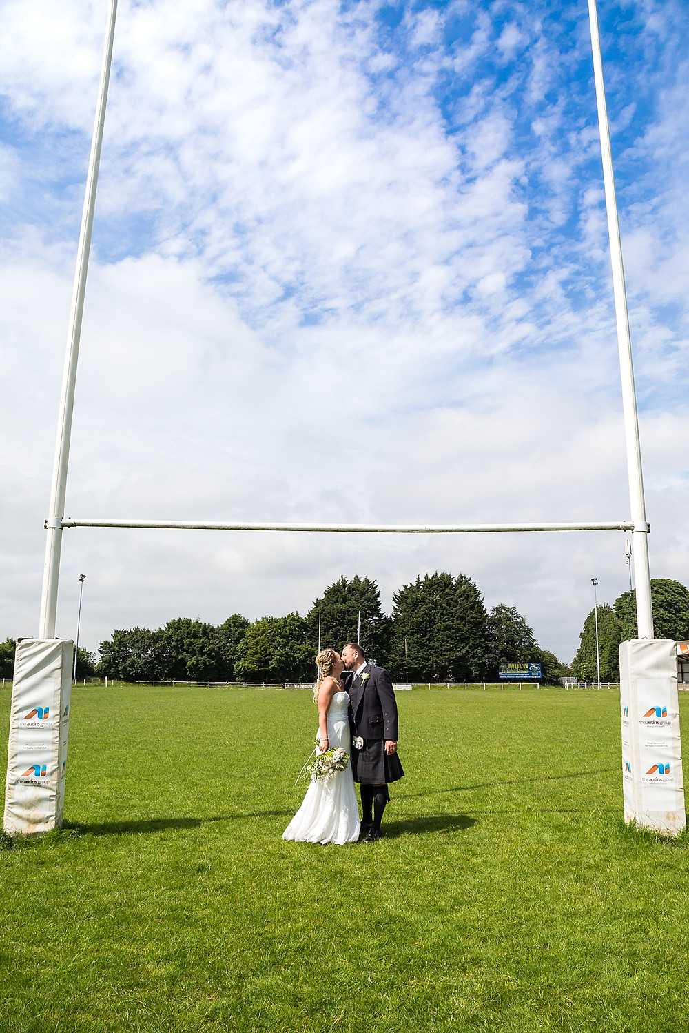 Bride and groom at Rugby Lions RFC wedding