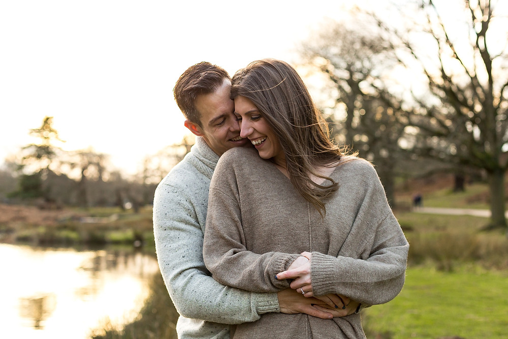 An engaged couple in the Leicestershire countyside