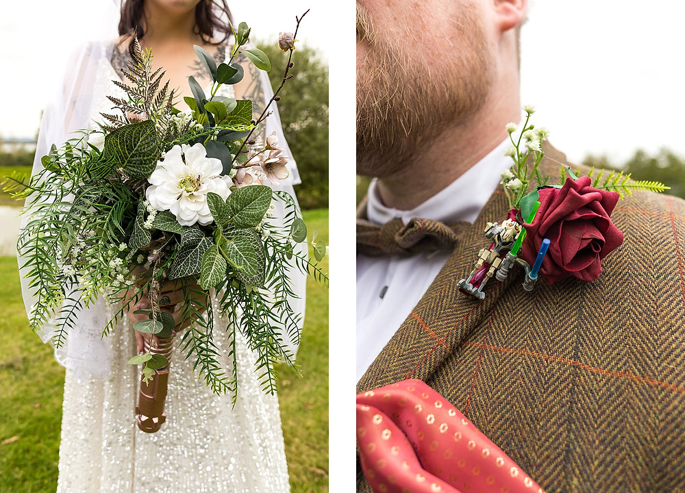 Star Wars wedding flowers and buttonhole