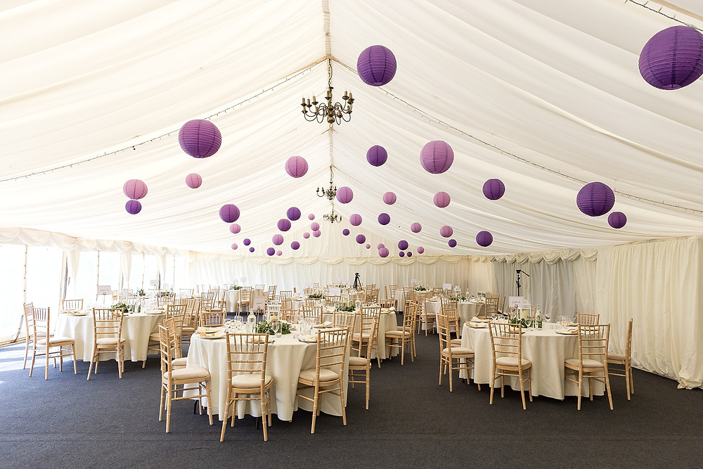 Marquee set up for wedding breakfast at Wethele Manor