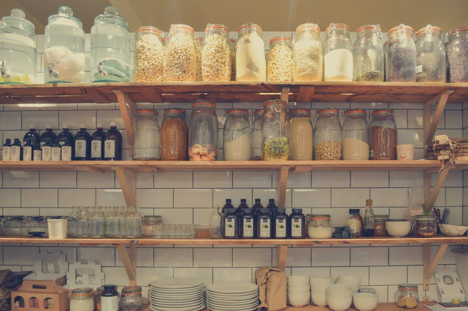Food in jars on shelf and how some foods can contain Mycotoxins